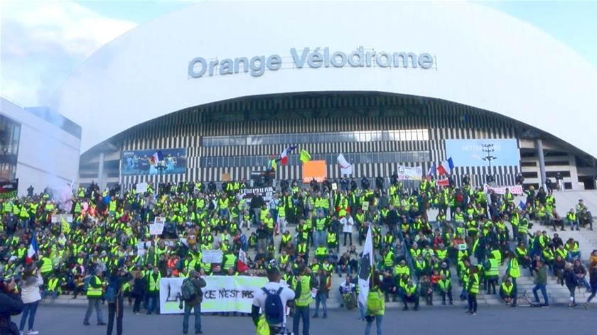 Manifestation à Marseille Jaune Vélodrome Maritima Info
