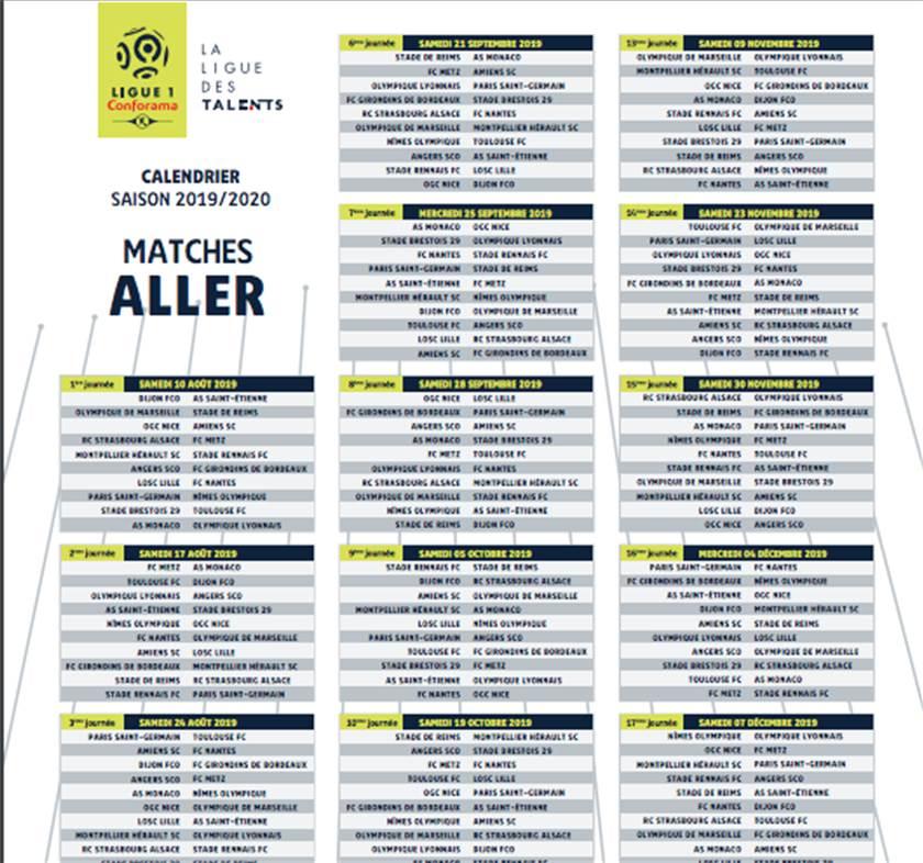 Calendrier Om 2020.Marseille Om Le Calendrier De La Ligue 1 Et De L Om Est
